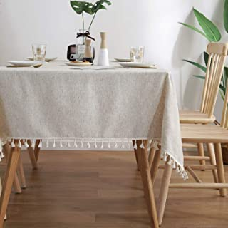 ColorBird Solid Color Tassel Tablecloth Cotton Linen Dust-Proof Shrink-Proof Table Cover for Kitchen Dining Farmhouse Tabl...