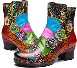 Botas de Cuero Liso,Camfosy Winter City Shoes con Tacones Planos Botas Botas con Cordones y Suela Cómoda para Pies Anchos ...
