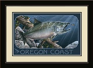 "Northwest Art Mall BA-4020 MFGDM TYE Oregon Coast Salmon Framed Wall Art by Artist Dave Bartholet, 13"" x 16"""
