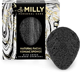 Konjac Sponge for Face - All Natural and Reusable - Konjac Facial Sponge with Activated Bamboo Charcoal - Gentle Exfoliating and Cleaning for All Skin Types - Eco-Friendly and Biodegradable - Black