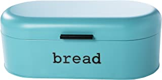 Large Bread Box for Kitchen Counter - Bread Bin Storage Container With Lid - Metal Vintage Retro Design for Loaves, Sliced Bread, Pastries, Teal, 17 x 9 x 6 Inches