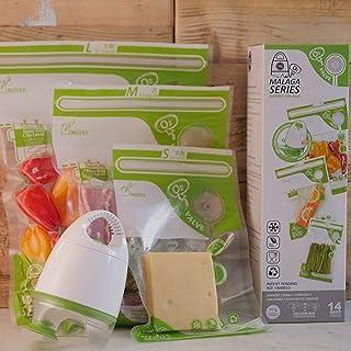 FOSA Vacuum Seal Food Storage System Reusable Zipper Bag Set with Vacuum Pump, V-adapter, 14 Storage Bags