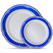 Laura Stein Designer Dinnerware Set | 64 Disposable Plastic Party Plates | White Wedding Plate with Blue Rim & Silver Accents | Includes 32 10.75