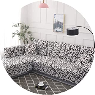 Elastic Sofa Cover Cotton It Needs Order 2 Pieces Covers for L-Shape Corner Sectional Sofa Cover for Living Room Solid Color,Color 8,4-Seater 235-300cm
