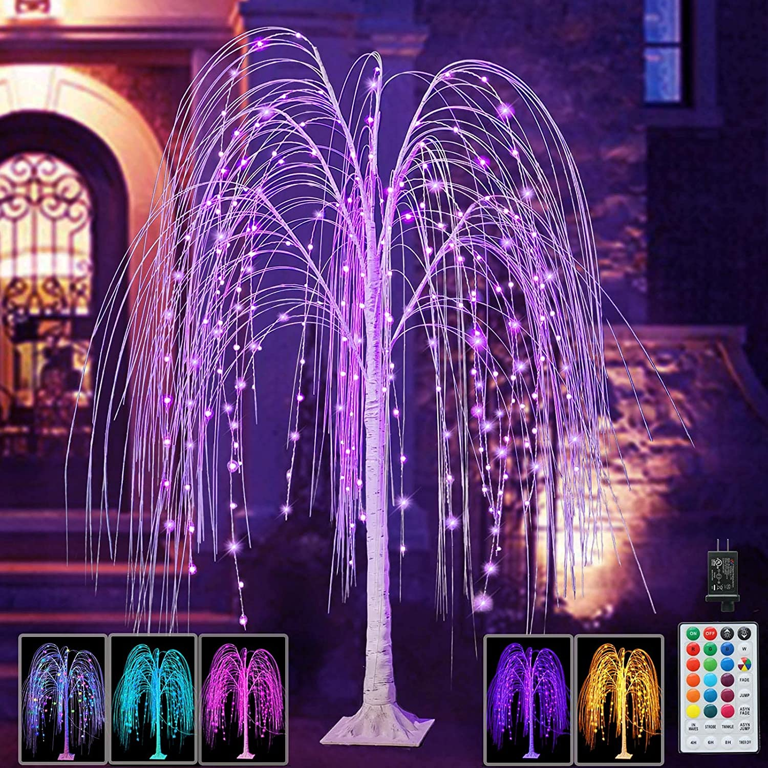 Pooqla 240 LED 5FT Colorful Halloween RGB Tree Lighted Willow Deluxe Free shipping New L