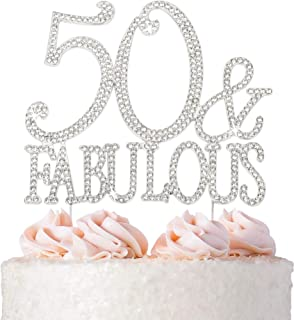 50 Cake Topper - Premium Silver Metal - 50 and Fabulous - 50th Birthday Party Sparkly Rhinestone Decoration...