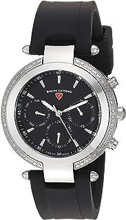 Swiss Legend Women's Madison Stainless Steel Swiss-Quartz Watch with Silicone Strap, Black, 20 (Model: 16175SM-01)