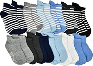 Toddler Boy Girl Socks Baby Elutong 12 Pairs Non Skid Socks Grips 12/18/24/30/36/ Months 1-3 OR 3-5 OR 5-7 Years Old Baby