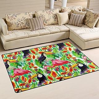 MASSIKOA Tropical Toucan Flamingo Area Rug Rugs Non-Slip Indoor Outdoor Floor Mat Doormats for Home Decor 60 x 39 Inches