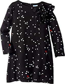 Long Sleeve Polka Dot Dress with Ruffle Detail (Big Kids)