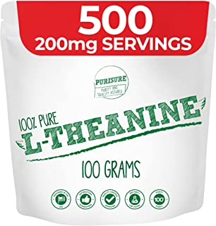 Purisure L-Theanine Powder 100g (1000 Servings), Nootropic, Cognitive Enhancer, Reduce Stress, Mood Support, Relaxation an...