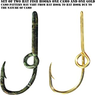 BT Outdoors Two Fish Hook Hat Pins Camo and Gold Hat Hook Fish Hook for Hat Camo Fish Hook Clip- Set of Two Hooks one Camo and one Gold