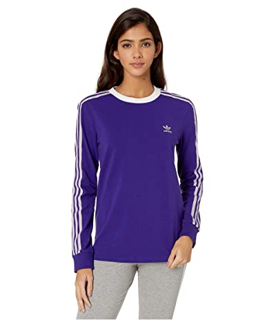 adidas Originals 3-Stripes Long Sleeve Tee (Collegiate Purple) Women