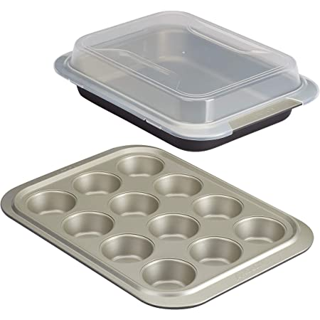 Anolon Allure Nonstick Bakeware Set includes Nonstick Baking Pan with Lid and Muffin/Cupcake Pan - 3 Piece, Onyx/Black/Pewter