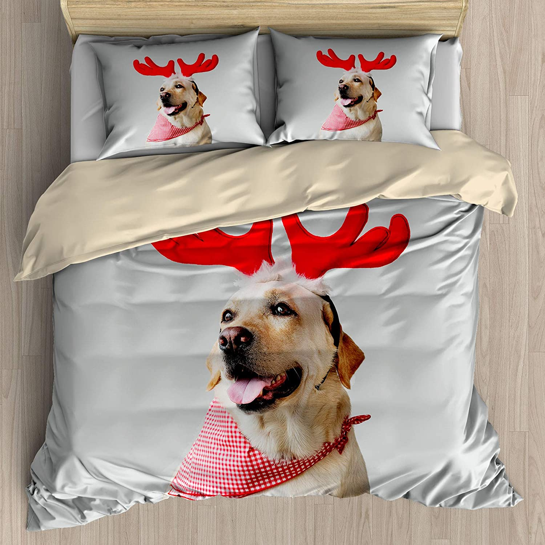 Christmas Theme Duvet Cover Set Queen Size,Cute Labrador Decorative 3 Piece Bedding Set with 2 Pillow Shams