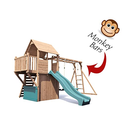 Wooden Playhouse With Slide Amazoncouk