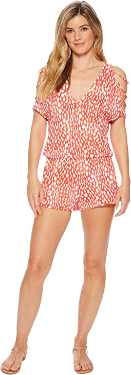 Luli Fama - Mandinga Cubanita Strappy Cold Shoulder V-Neck Romper Cover-Up