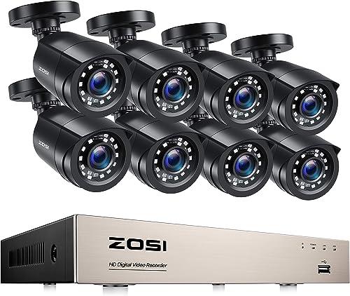 ZOSI Kit de Cámara Seguridad 8CH H.265+ 1080P Grabador DVR con (8) 2MP Cámara de Vigilancia Exterior, 20m Visión Noct...