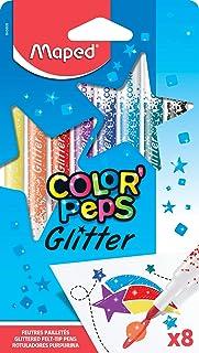 Maped Color'Peps Feutres de Coloriage Glitter Encre à Paillettes pour Enfant Effet Métallisé - Boîte de 8 Feutres Pailleté...