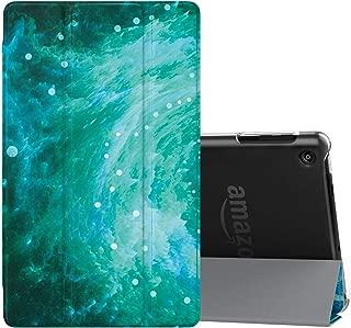NEW-Fire HD 8 ケース - ATiC Amazon Fire HD 8 (第7世代、第8世代)用カバー 半透明 オートスリーブ機能付き 軽量 薄型 三つ折りスタンドケース Fire HD 8タブレット(Newモデル)2018/2017用 渦
