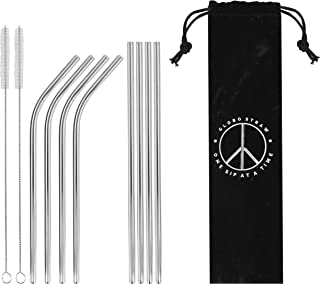 Stainless Steel Straws Set of 8 Silver Metal Reusable Drinking Straws Fit Tumbler Cups 20oz Yeti RTIC Ozark (4 straight|4 bent|2 brushes) Dishwasher Safe Eco-Friendly 8.5inch Long ¼ inch Diameter