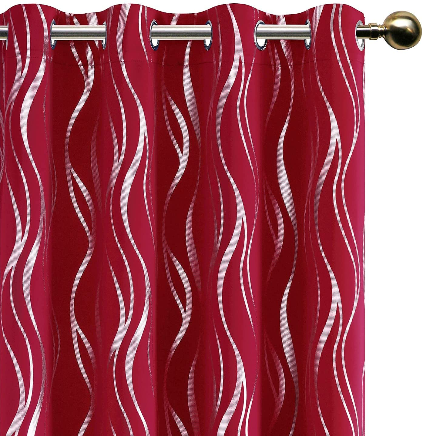 DWCN Manufacturer direct delivery Blackout Curtains with Tiebacks Popular products Print Stripe - Foil Silver