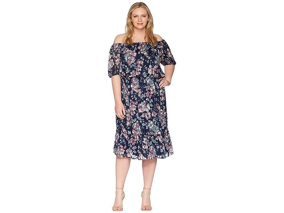 Adrianna Papell Plus Size Off Shoulder Blouson Burnout (Navy Multi) Women
