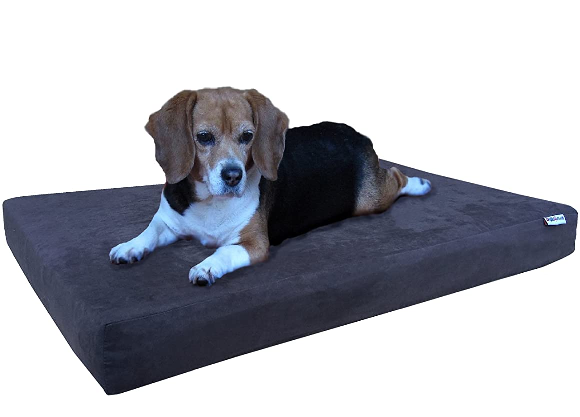 Dogbed4less Orthopedic Gel Cooling Memory Foam Dog Bed for Pet, Waterproof Liner with Washable Suede Cover and Extra Bonus External Case - 7 Sizes