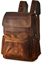 RASS TACKS Leathercraft Men's Full Crazy Horse Genuine Leather Backpack 15.6