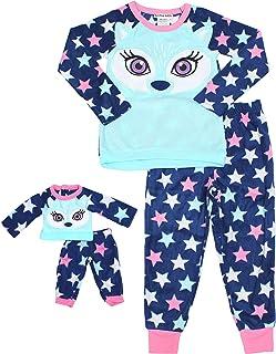 822725d1f1b Cuddl Duds Girls Plush Animal Pajama Sleep Set Hooded Top Pants with  Matching Doll Set
