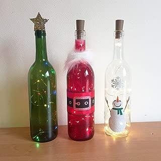 Holiday Wine Bottle Decorations with Lights - Santa, Snowman, Christmas Tree, Wine Bottle Decor, Wine Bottle Crafts, Holiday Decorations