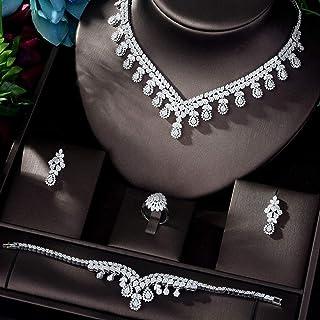 AAA مكعب الزركون مجموعات مجوهرات للنساء الزفاف قلادة حلق سوار مجوهرات اكسسوارات Makfacp (اللون: أبيض مطلي بالذهب)