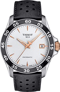 Tissot V8 Automatic Silver Dial Black Leather Men's Watch