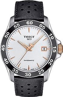 ساعة تيسوت للرجال سويسرية مينا بسوار جلدي 316L - اسود، 22 موديل T1064072603100