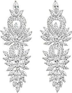 QUKE Glänzend Klassische Elegante Zirkonia Mode Klar österreichische Kristall Blatt Brauthochzeits