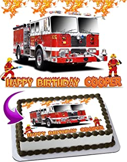 Fire Truck - Edible Cake Topper - 11.7 x 17.5 Inches 1/2 Sheet rectangular (Best Quality Printing)