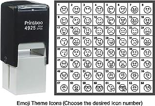 طابع شخصي مزين برموز تعبيرية برنتسو، ختم مطاطي ذاتي الحبر، 24 مم، أسود, اسود Approx 20 mm - 24 mm (Impression-27)