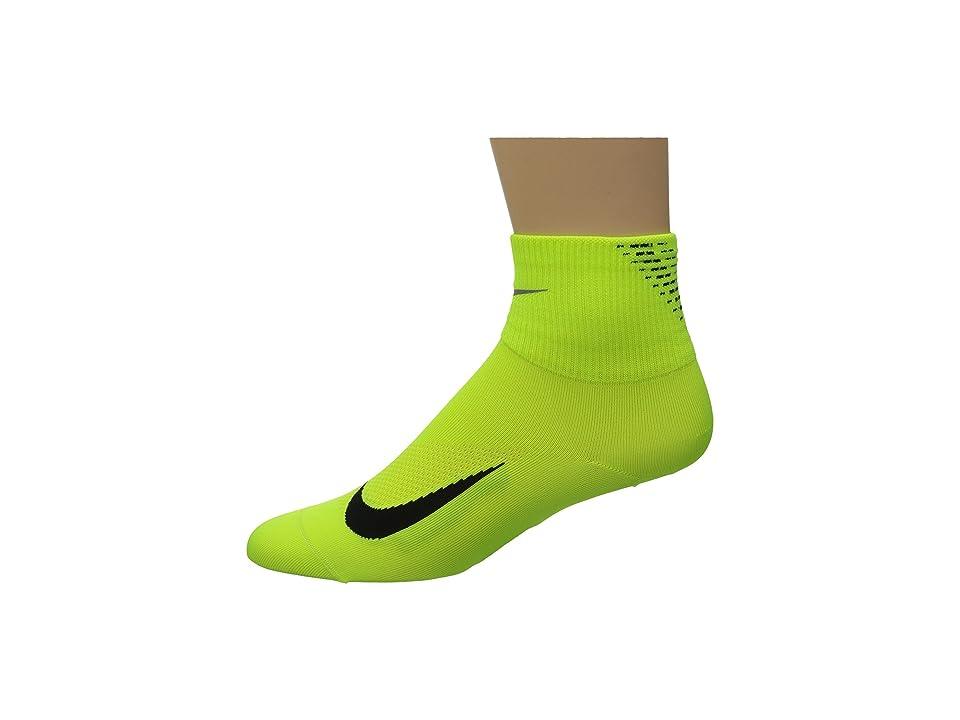 Nike Elite Run Lightweight 2.0 Quarter (Volt/Black) Quarter Length Socks Shoes