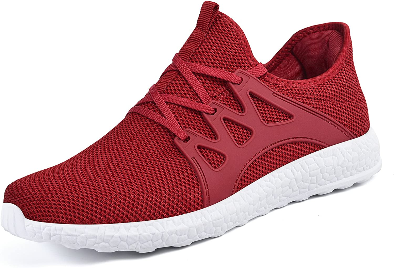 ZOCAVIA M än's Casual skor Ultra ljusljus Andable maska Sport Sport Sport gående skor, röd vit, 12.5 D (M) USA  fantastiska färgvägar