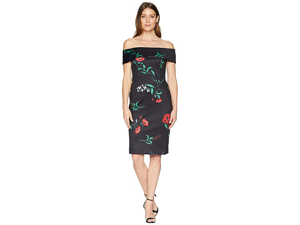 Calvin Klein Off the Shoulder Floral Sheath Dress CD8M37BG (Black Multi) Women