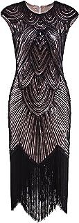 VIJIV 1920`s Long Prom Dresses Beaded Sequin Art Nouveau Deco Flapper Dress
