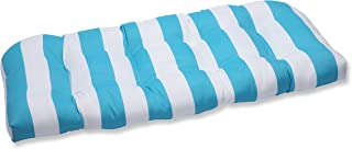 Pillow Perfect Outdoor Cabana Stripe Wicker Loveseat Cushion, Turquoise