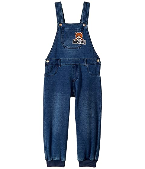 Moschino Kids Denim Overalls w/ Teddy Bear Logo On Front (Infant/Toddler)