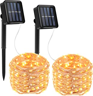 Prefer Green 2 Pack Solar Powered String Lights 100 LED 33ft 8 Modes Copper Wire Lights Indoor/Outdoor Waterproof Decorative String Lights for Patio Garden Wedding Christmas Decor (Warm White)