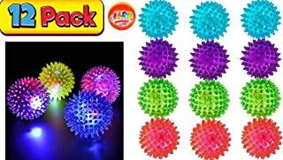JA-RU Light Up Spike Rubber Ball (Pack of 12) and 1 Collectable Bouncy Ball. Flashing Lights Soft Colorful Cool Ball Therapy Balls 2.5 Inch   Item #695-12p