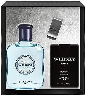 Evaflorparis Whisky Vintage Gift Box Eau de Toilette 100 Ml + Travel Perfume 20 Ml + Money Clip Set Perfume Spray Men Perf...