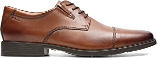 Clarks Tilden Cap Leather Shoes in Dark Tan Wide Fit Size, Brown, Size 41.5 EU