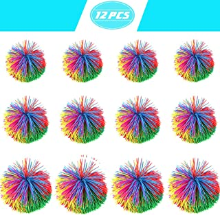 Newbested 12 Pack 3 Size Monkey Stringy Balls Sensory Fidget Toys Original Koosh Ball Latex-Free Silicone Soft Active Fun Toy, Stress Relief Balls with Rainbow Pom Colorful Bouncy Ball