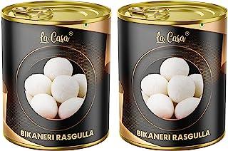 La Casa Bikaneri Rasgulla | Combo Pack of 2 White Chhena Spongy Balls with Sugar Syrup | Rakshabandhan Sweet | Tin Gift P...