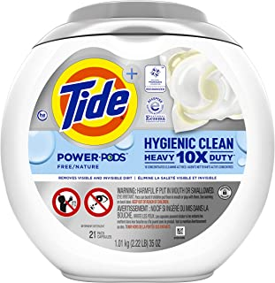 Tide Pods Hygienic Clean Heavy Duty 10x Free Power PODS Laundry Detergent, 21 count, Unscented, For Visible and Invisible ...